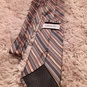 Joseph & Fiess Grey, Orange Stripe Silk 58 In Tie